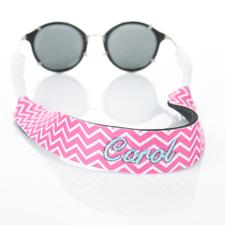 Hot Pink Chevron Embroidery Monogrammed Sunglass Strap Croakies