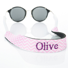 Pink Chevron Embroidery Monogrammed Sunglass Strap Croakies