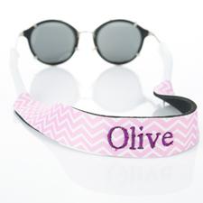 Pink Chevron Embroidery Monogrammed Sunglass Strap Croakies