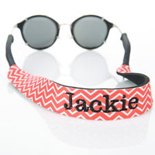 Red Chevron Embroidery Monogrammed Sunglass Strap Croakies