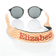 Orange Chevron Personalized Embroidery Sunglass Strap