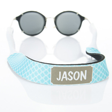 Aqua Interlocking Circle Monogrammed Sunglass Strap