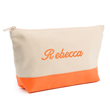 2-Tone Orange Embroidered Cosmetic Bag
