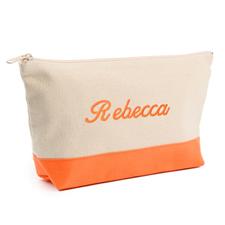 2-Tone Orange Embroidered Cosmetic Bag