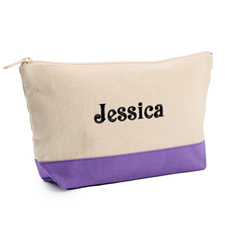 2-Tone Purple Embroidered Cosmetic Bag