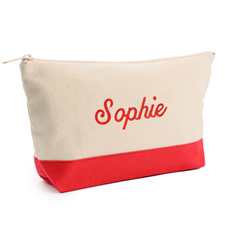 2-Tone Red Embroidered Cosmetic Bag