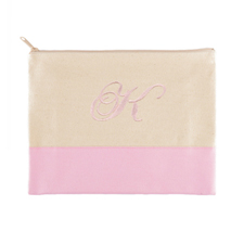 Embroidered Cosmetic Bag in Pink Trim, Large