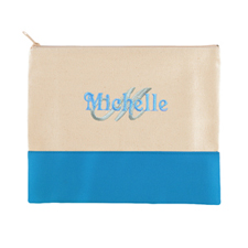 Name & Initial Personalized Aqua Makeup Case