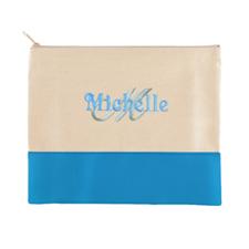 Name & Initial Personalized Aqua Makeup Case