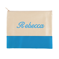 Embroidered Name Natural Aqua Zip Bag (7.5 X 9 Inch)