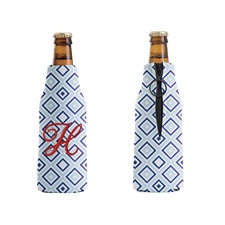 Embroidery Monogrammed Blue and Navy Diamond Bottle Cooler