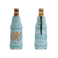 Embroidery Peacock Damask Personalized Bottle Cooler