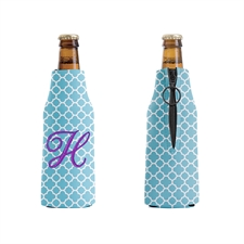 Embroidery Aqua Moroccan Personalized Bottle Cooler