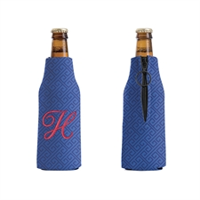 Embroidery Personalized Navy Grid Bottle Cooler
