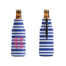 Embroidery Monogrammed Blue Stripe Bottle Cooler