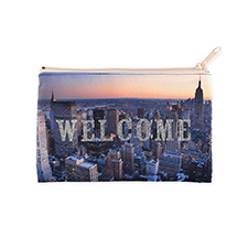 6x9 Custom Printed Glitter Text Cosmetic Bag, Beige Zipper (Custom 2-sides)