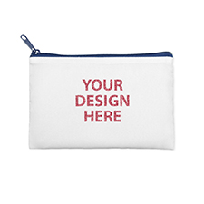 6x9 Custom Printed Glitter Text Cosmetic Bag, Navy Zipper (Custom 2-sides)