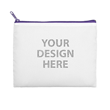 8x10 Glitter Message Photo Cosmetic Bag, Purple Zipper (Custom 2-sides)