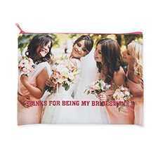 9.5x13 Personalized Design Glitter Text Cosmetic Bag, Hot Pink Zipper (Custom 2-sides)