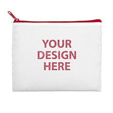 9.5x13 Personalized Design Glitter Text Cosmetic Bag, Red Zipper (Custom 2-sides)