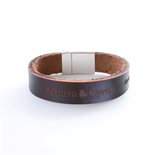Leather Bracelet With An Engraved