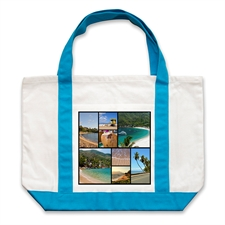 Eight Black Collage Aqua Custom Large Tote Bag