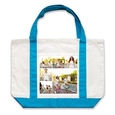 Six Square Collage Personalized Tote Bag, Auqa