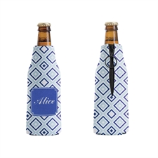Blue and Navy Diamond Personalized Bottle Cooler
