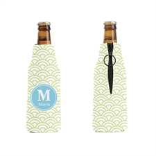 Lime Green Scales Personalized Bottle Cooler