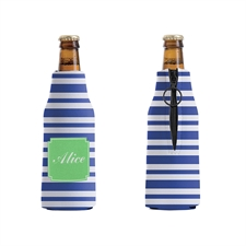 Blue Stripe Custom Bottle Cooler