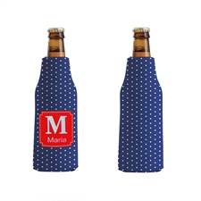 Blue Polka Dot Custom Bottle Cooler