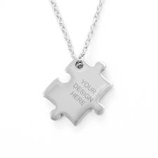 Custom Message Engraved Puzzle Necklace, Custom Front
