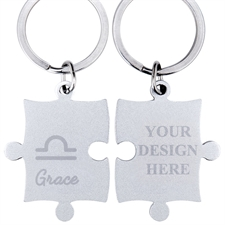 Libra Symbol Personalized Engraved Puzzle Keychain