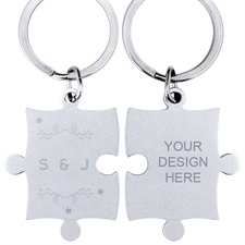Wreath and Stars Personalized Engraved Puzzle Keychain