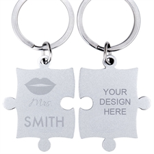 Personalized Mrs Engraved Name Puzzle Keychain