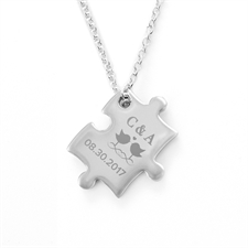 Customize Message Love Birds Engraved Puzzle Necklace, Custom Front