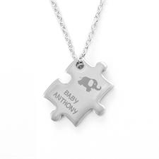 Customized Baby Elephant Engraved Puzzle Necklace, Custom Front