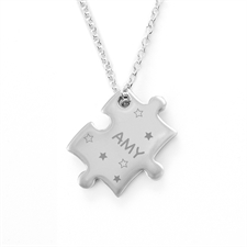 Customized Stars Engraved Puzzle Necklace, Custom Front
