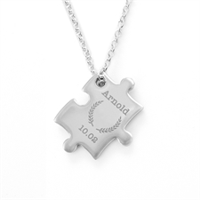 Engraved Message Wreath Personalized Puzzle Necklace, Custom Front