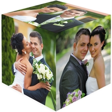 Personalized 6 Panels Wedding Wood Photo Cube
