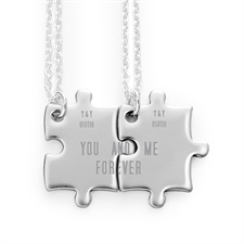 Personalized Engraved Matching Couple Puzzle Necklaces, Custom Front