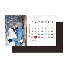 White Save the Date Photo Calendar 2x3.5 Magnet