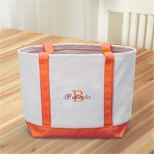 Name & Initial #1 Personalized Orange Canvas Tote Bag (Small)