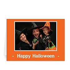 Custom Printed Classic Halloween, Orange Greeting Card