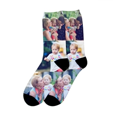 Three Collage Personalized Photo Print Unisex Socks, Medium