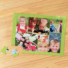 Personalized Apple Green 7 Collage 12X16.5 Photo Puzzle