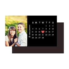 Black Save the Date Photo Calendar 2x3.5 Magnet