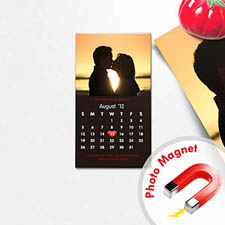 Black Save the Date Portrait Calendar 2x3.5 Magnet