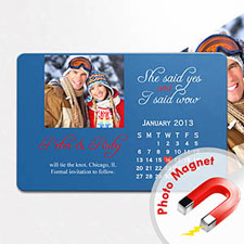 Large Calendar Save the Date Photo Magnet, Kissing