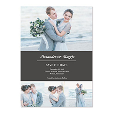 Create Your Own Save The Date Cards, Grey 4 Photo Collage